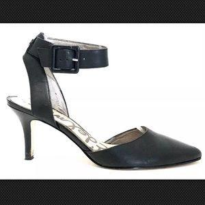 Sam Edelman Okala Black Leather Ankle Wrap Pumps